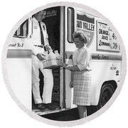 Milkman Home Delivery Round Beach Towel