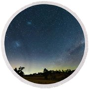 Milky Way And Countryside Round Beach Towel