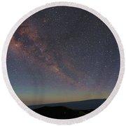 Milky Way Over Mauna Loa Round Beach Towel