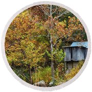 Mill In The Fall Round Beach Towel