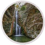 Millomeris Waterfall - Cyprus Round Beach Towel