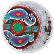 Mimbres Inspired #1a Round Beach Towel