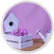 Miniature Gardening Kit With Pink Background Round Beach Towel