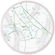 Minimalist Modern Map Of Baghdad, Iraq 5 Round Beach Towel