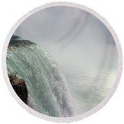 Mist Over Horseshoe Falls  Round Beach Towel