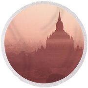 Misty Dawn In Bagan Round Beach Towel