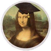 Mona Lisa  Graduation Day Round Beach Towel