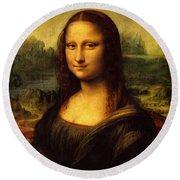 Mona Lisa Portrait Round Beach Towel