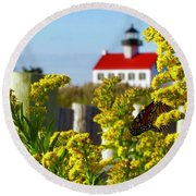 Monarch At East Point Light Round Beach Towel