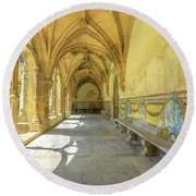 Monastery Of Santa Cruz Round Beach Towel