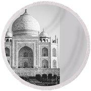 Monochrome Taj Mahal - Square Round Beach Towel
