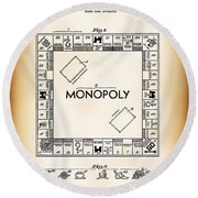 Monopoly Board Game Patent Art  1935 Round Beach Towel