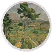 Mont Sainte-victoire And The Viaduct Of The Arc River Valley Round Beach Towel