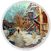 Montreal Street In Winter Round Beach Towel by Carole Spandau