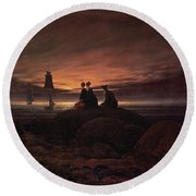 Moon Rising Over The Sea Round Beach Towel