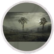 Moonlight On Mount Lafayette Round Beach Towel