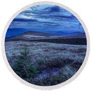 Moonlight On Stone Mountain Slope With Forest Round Beach Towel