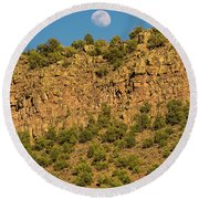 Moonrise Rio Grande Gorge Pilar New Mexico Round Beach Towel