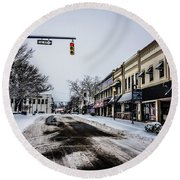 Moresville North Carolina Streets Covered In Snow Round Beach Towel