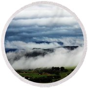 Morning Fog 2 Round Beach Towel