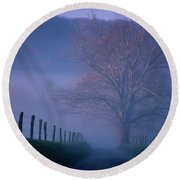 Morning Fog, #1, Smoky Mountains, Tennessee Round Beach Towel