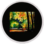 Morning Forest Round Beach Towel