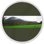 Morning Mountain Mist Round Beach Towel