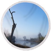 Morning On Red River Round Beach Towel