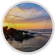 Morris Island Sunrise Round Beach Towel