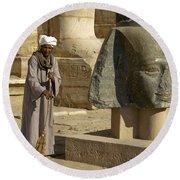 Mortuary Temple Of Rameses II Round Beach Towel