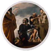 Moses And The Messengers From Canaan Round Beach Towel