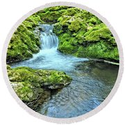 Mossy Moine Falls Round Beach Towel