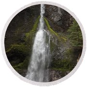Mossy Waterfall Round Beach Towel