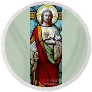Most Sacred Heart Of Jesus Round Beach Towel