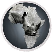 Mother Africa With A Rhino  Round Beach Towel