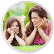 Mother With Daughter Outdoors Round Beach Towel