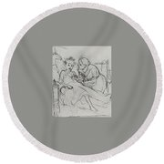 Mother With Sick Child 1878 Fig 29 9h22 6 Tg Vasily Perov Round Beach Towel
