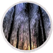 Motion Blurred Trees In A Forest Round Beach Towel