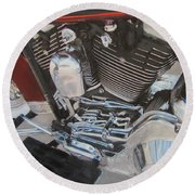 Motorcycle Close Up 1 Round Beach Towel