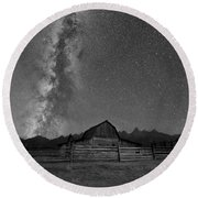 Moulton Barn Milky Way  Round Beach Towel