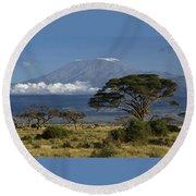 Mount Kilimanjaro Round Beach Towel