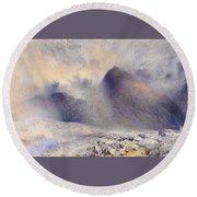 Mount Snowdon Through Clearing Clouds Round Beach Towel