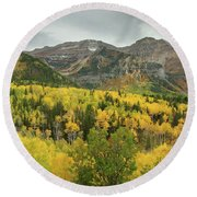 Mount Timpanogos Fall Colors Round Beach Towel