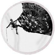 Mountain Climber-black Round Beach Towel