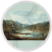 Mountain Landscape With Indians Round Beach Towel