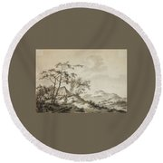 Mountainous Landscape With Three Ramblers Round Beach Towel