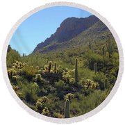 Mountains And Valleys Round Beach Towel
