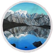 Mountains Landscape Acrylic Painting Round Beach Towel