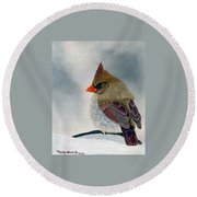 Mrs. Cardinal Round Beach Towel by Tracey Goodwin