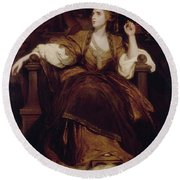 Mrs. Siddons As The Tragic Muse Round Beach Towel